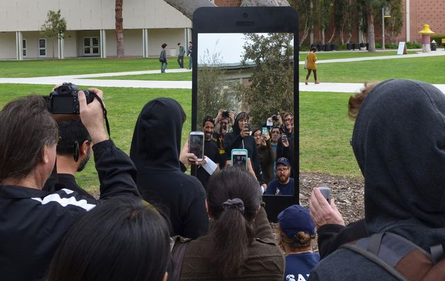 Giant selfie installation, California State University Long Beach