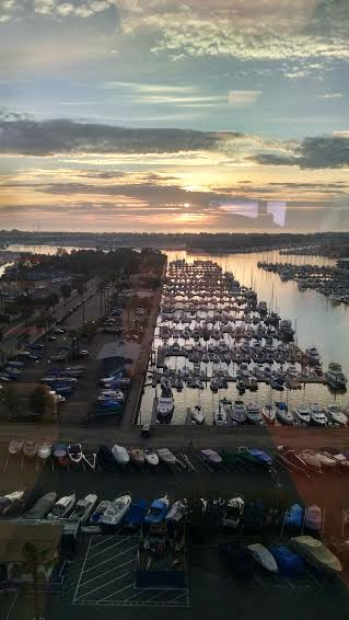 The sunset on Marina Del Ray, from a conference room, USC Institute of Information Science.